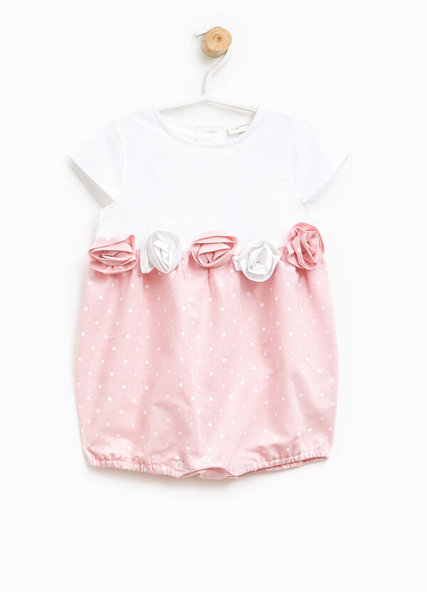 Polka dot romper suit with flowers | OVS
