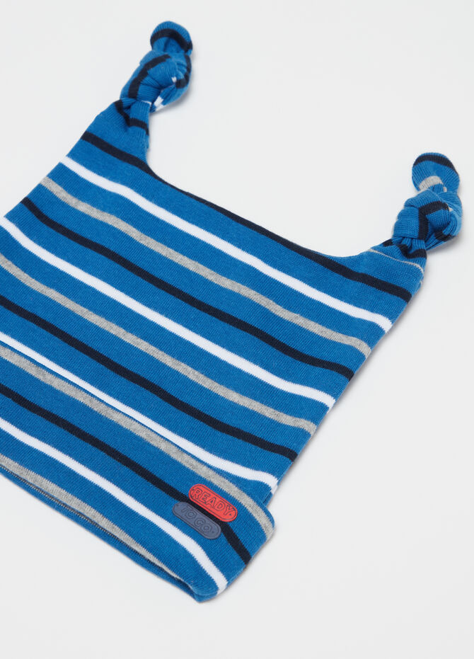 Jersey hat with striped inserts