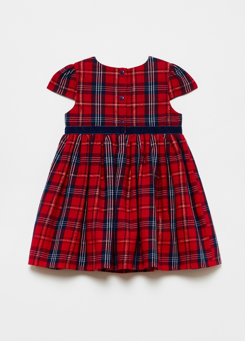 Pleated dress with check patterned belt image number null
