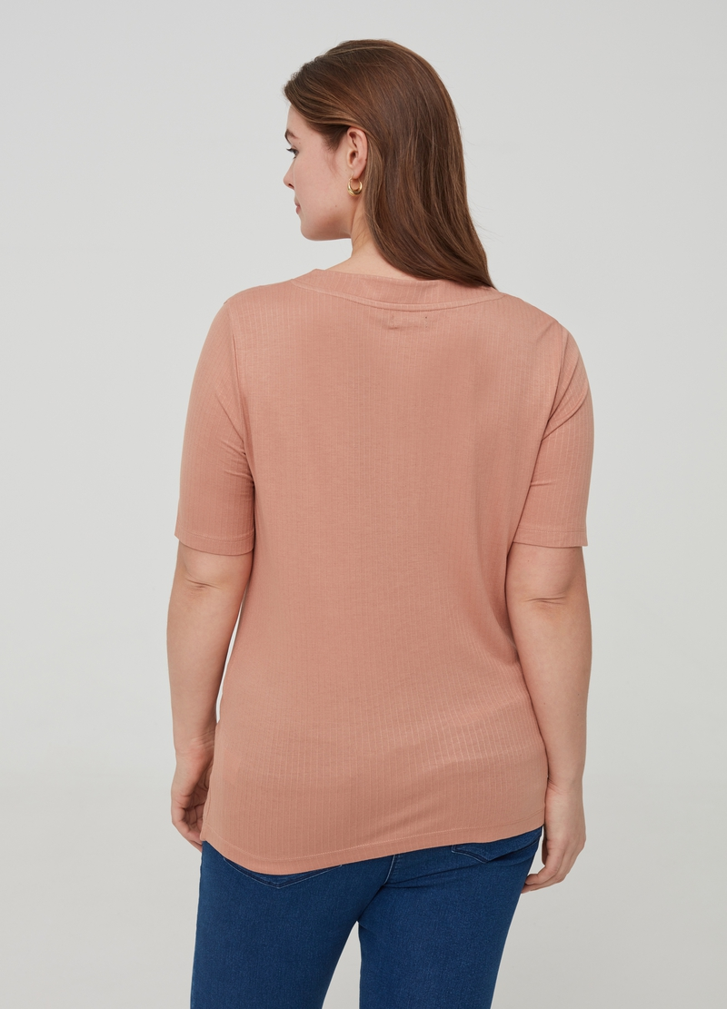 Curvy ribbed T-shirt with granddad neckline image number null