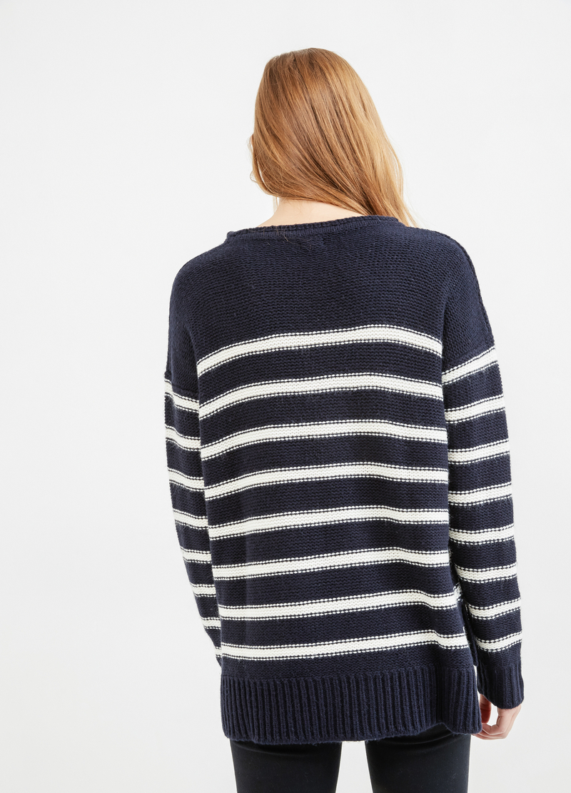 Striped knitted pullover image number null