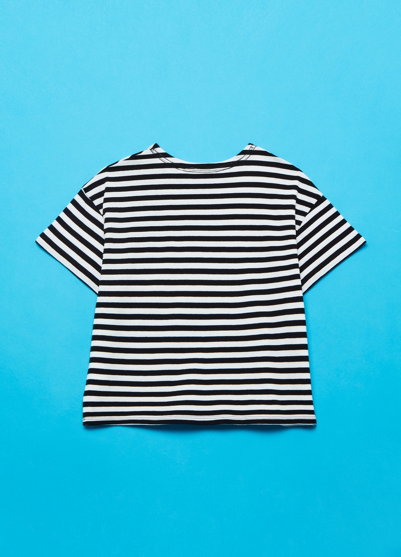 Striped cotton T-shirt with lettering print image number null