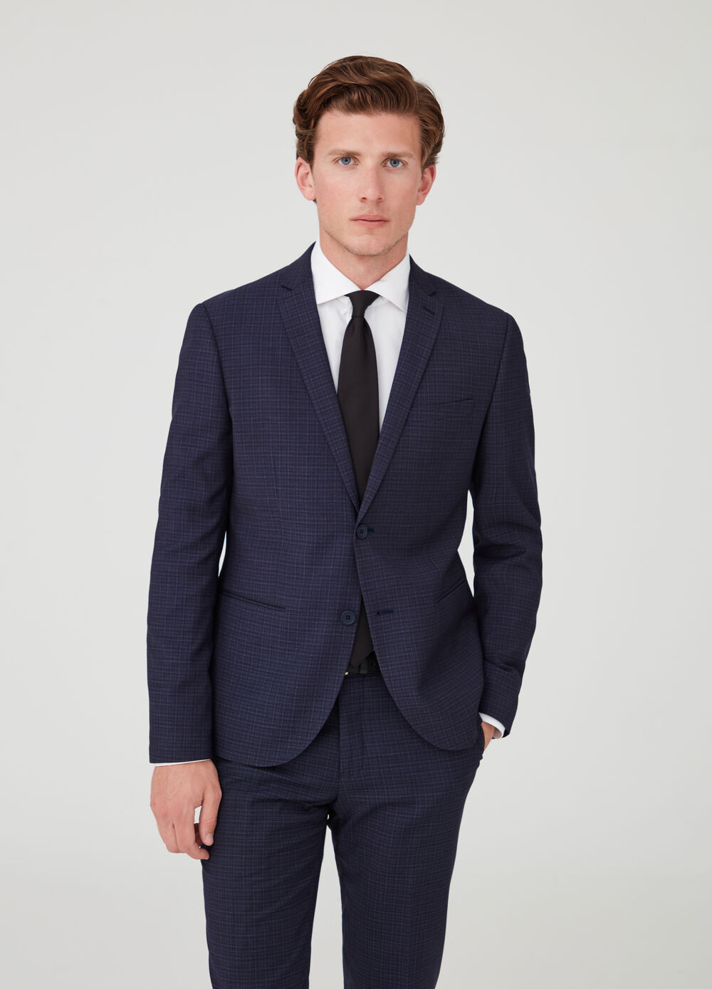 Two-button suit jacket with check pockets