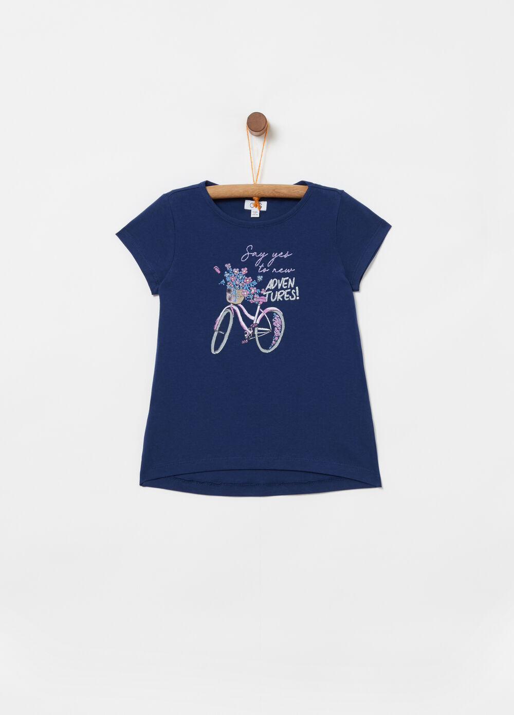 100% cotton T-shirt with glitter bicycle print