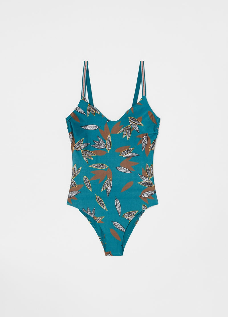 One-piece swimsuit with leaves print image number null