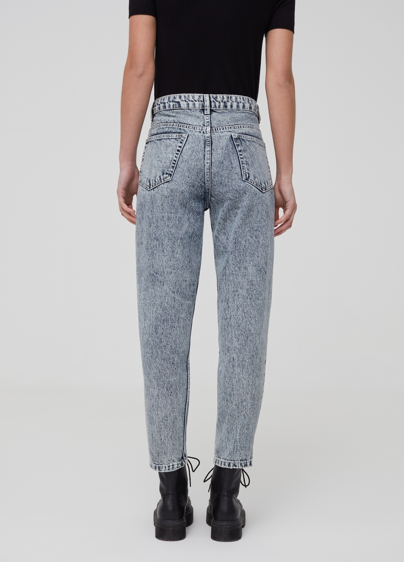 Mum-fit jeans with misdyed effect image number null