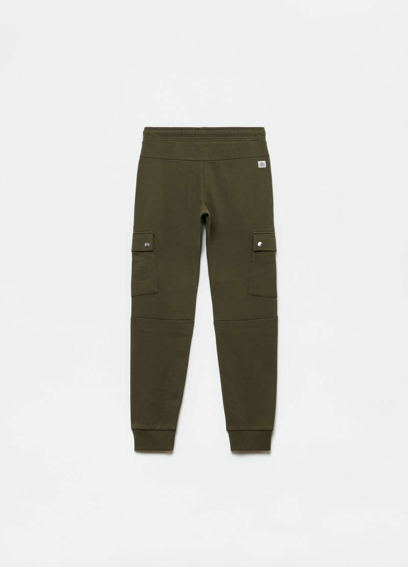 Solid colour cargo joggers with pockets image number null