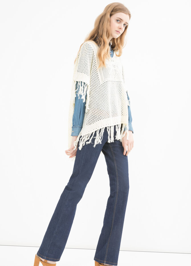 100% cotton cape with fringe