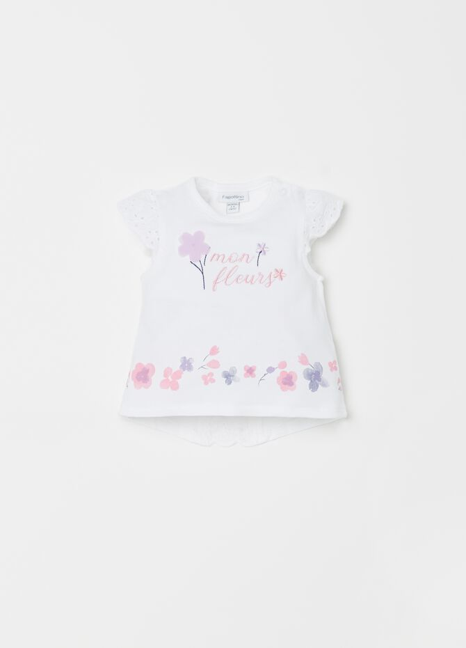 T-shirt jersey con Sangallo ricami stampa