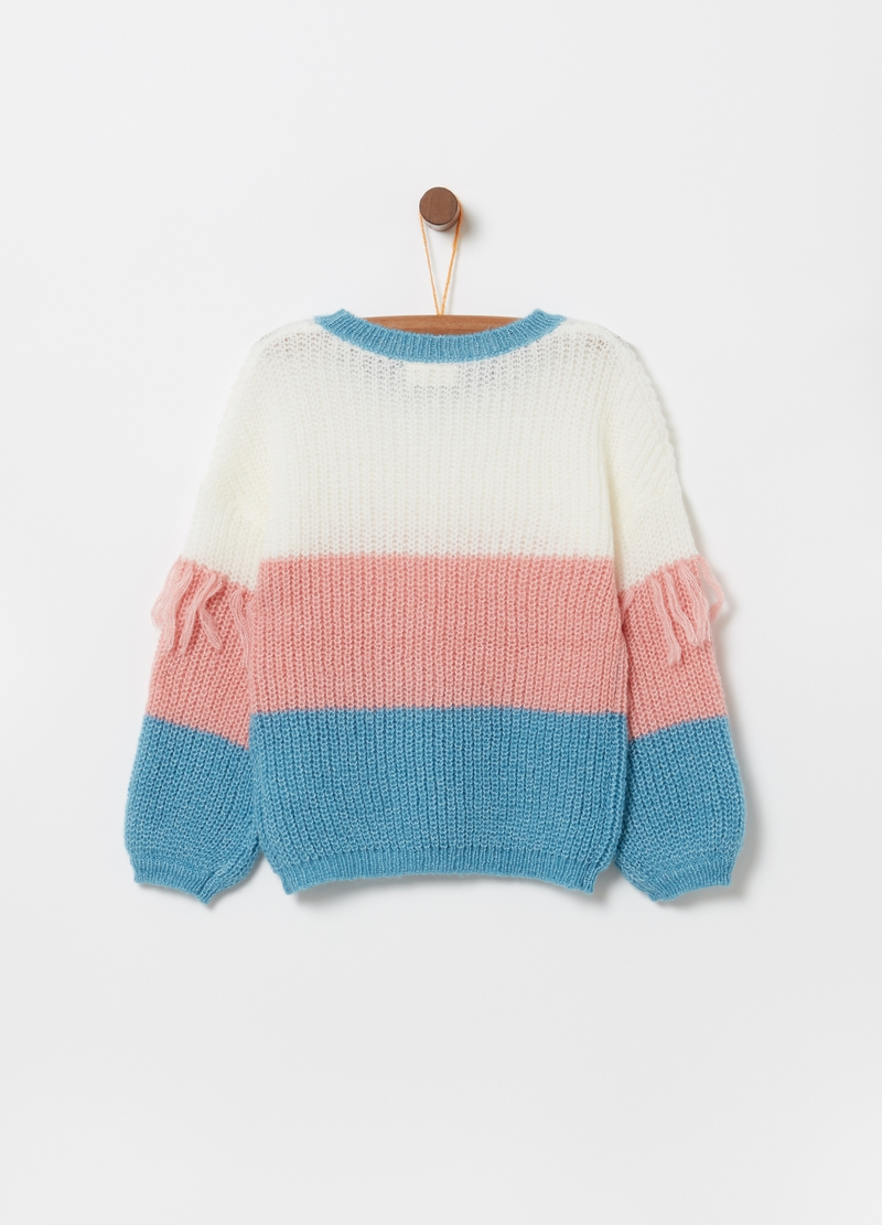 Pullover con lurex tricot fantasia a righe image number null