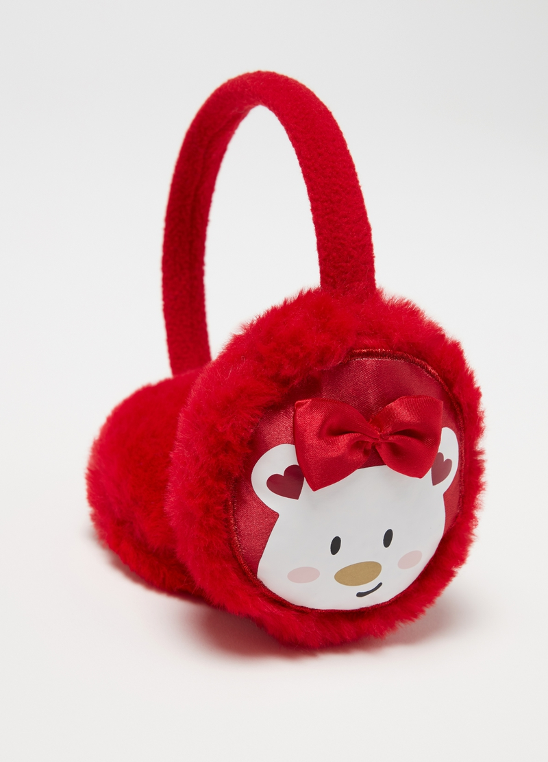 Earmuffs with bows and girl teddy bear image number null