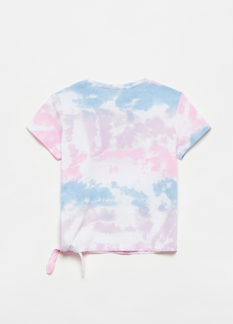 T-shirt with knot and Tie Dye pattern image number null