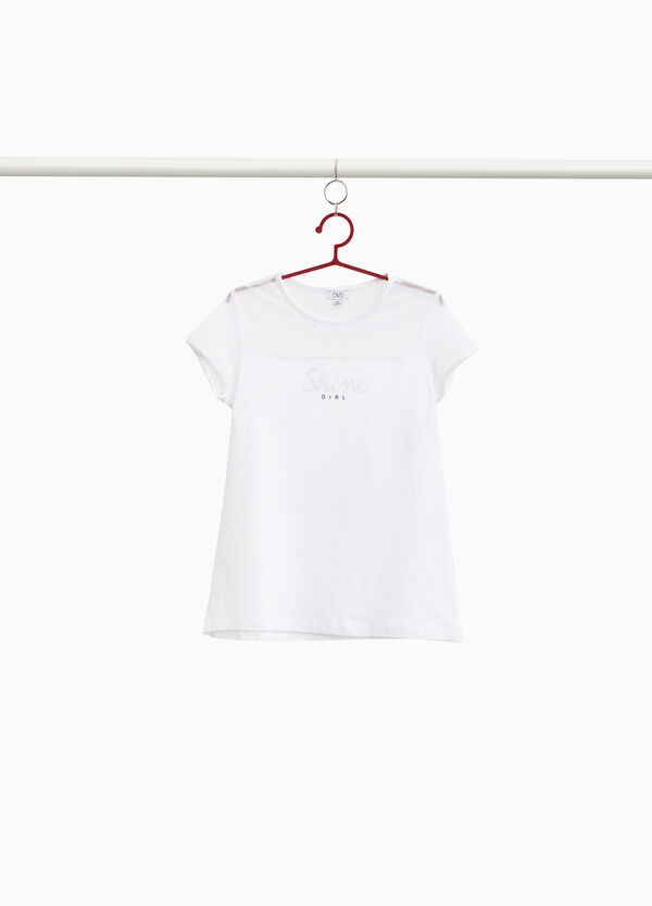 Semi-sheer stretch cotton T-shirt