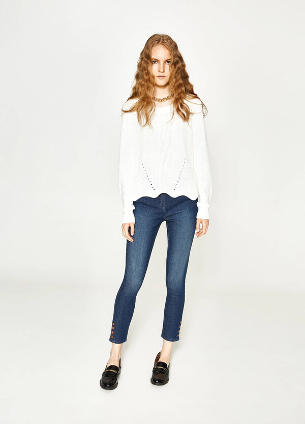 Skinny-fit stretch jeans with buttons | OVS