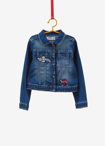 Stretch denim jacket with patch