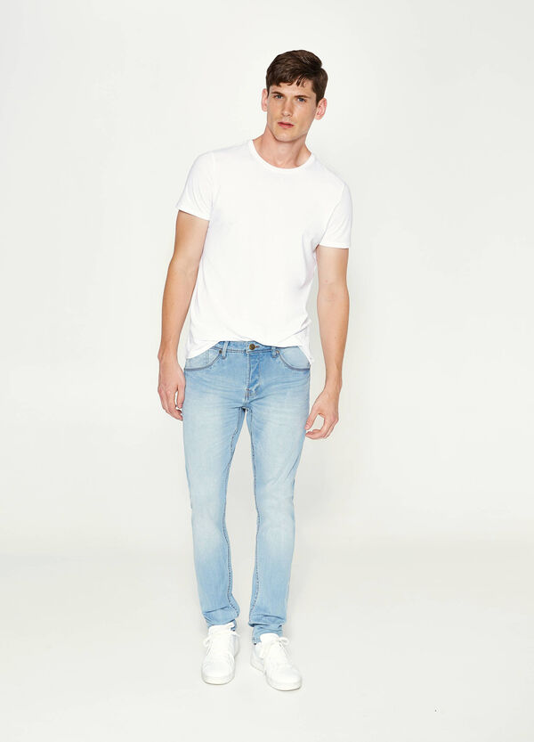 Jeans skinny stretch con scoloriture