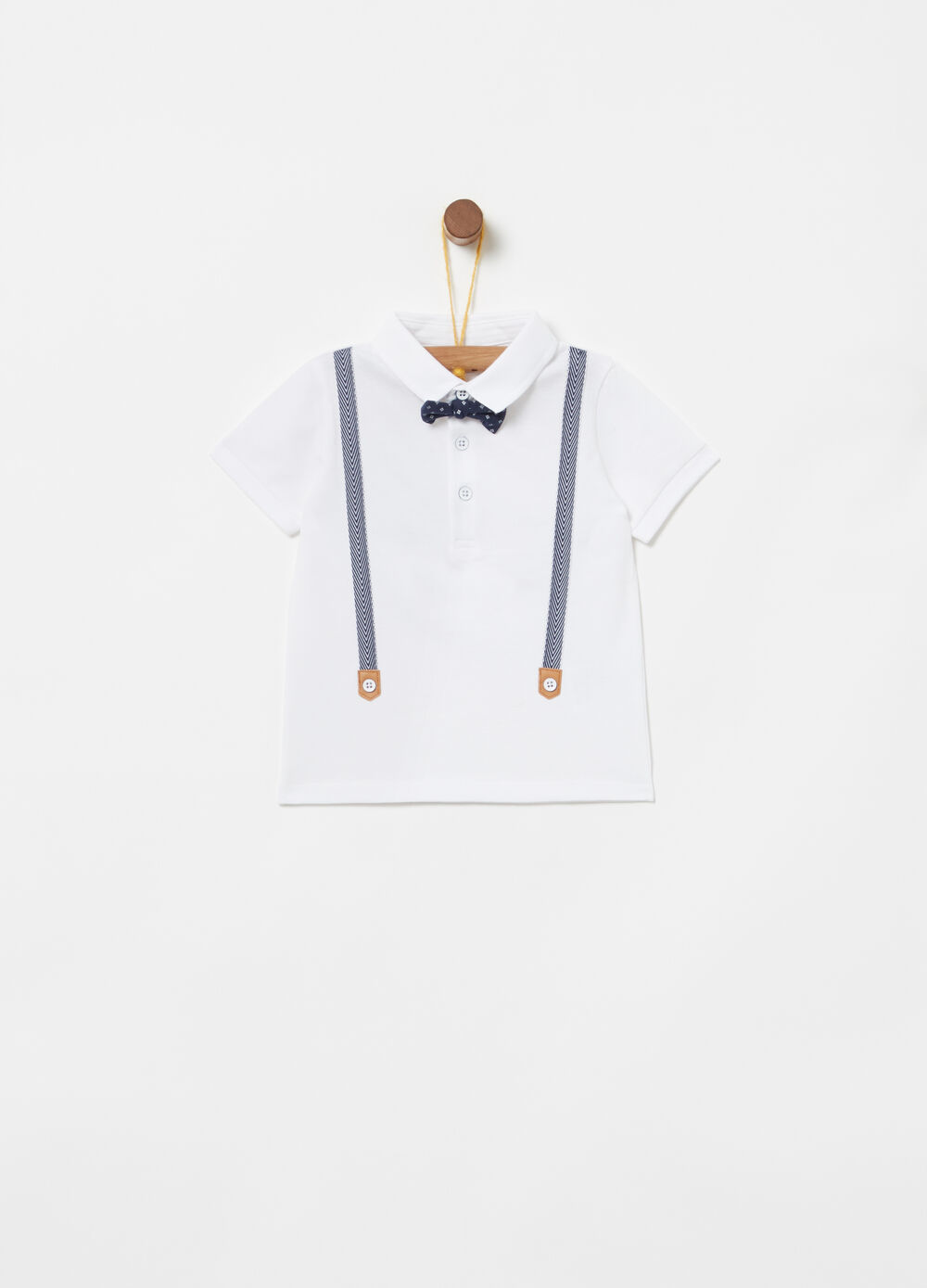 Stretch cotton polo shirt with bow tie and braces