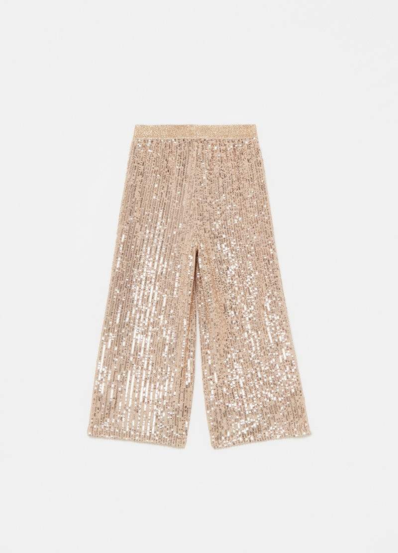 Pantaloni crop con sequins image number null