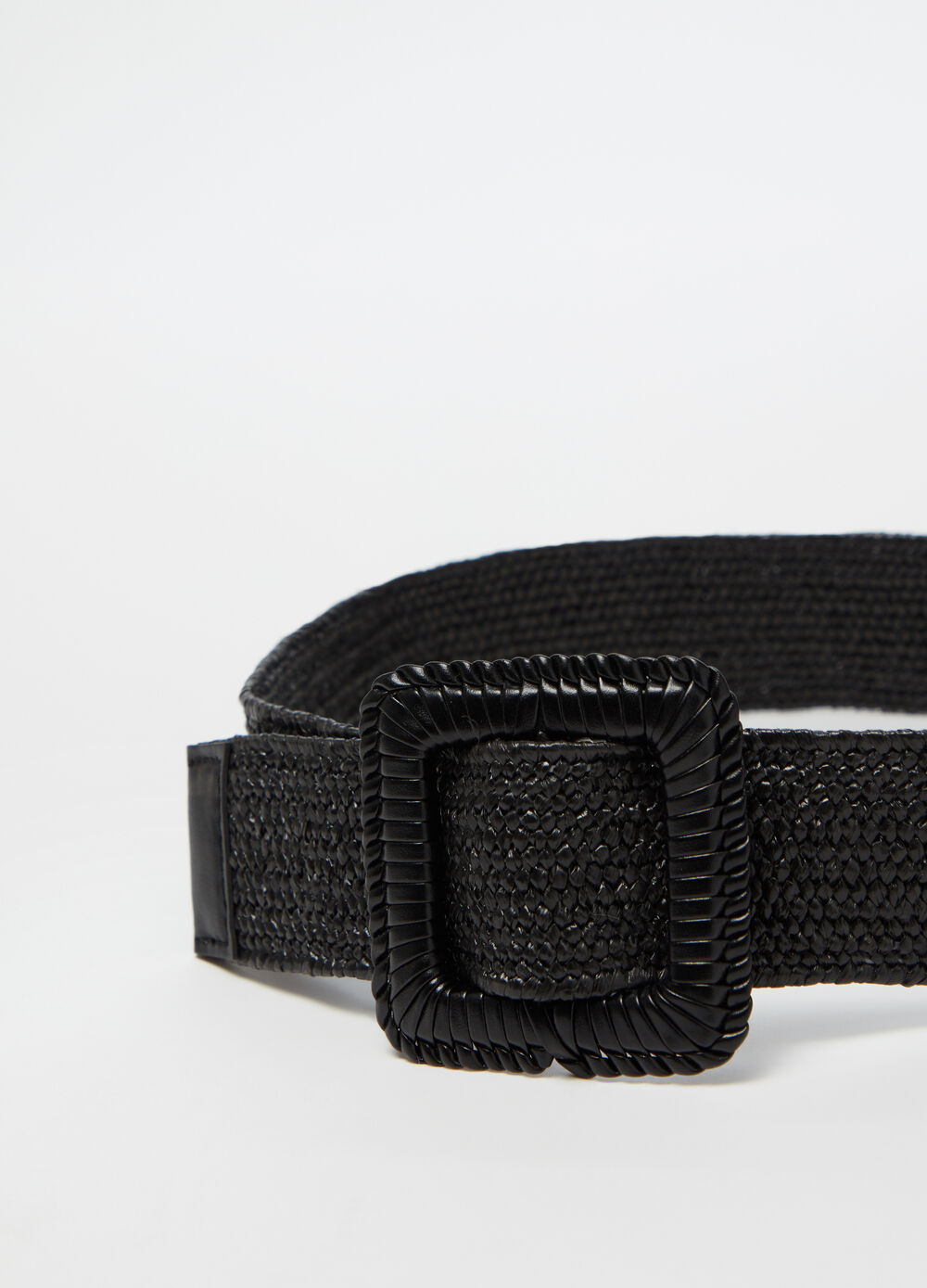 Braided belt with striped buckle