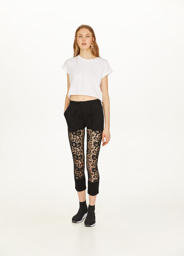 Cotton blend crop trousers with lace