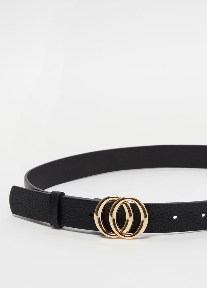 Belt with metal double circle