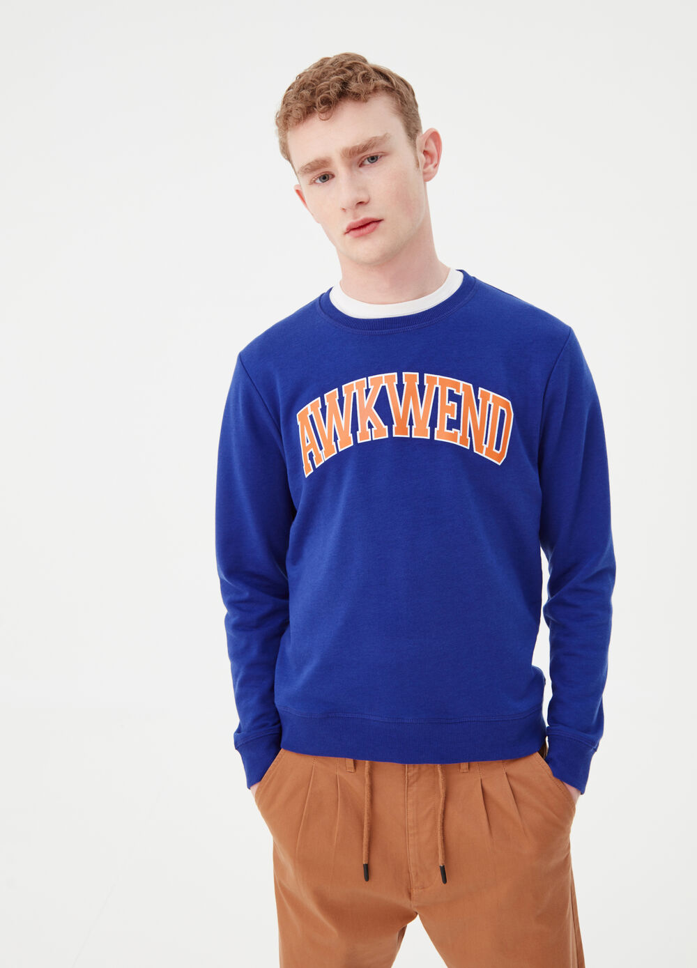 Slub French terry sweatshirt with print