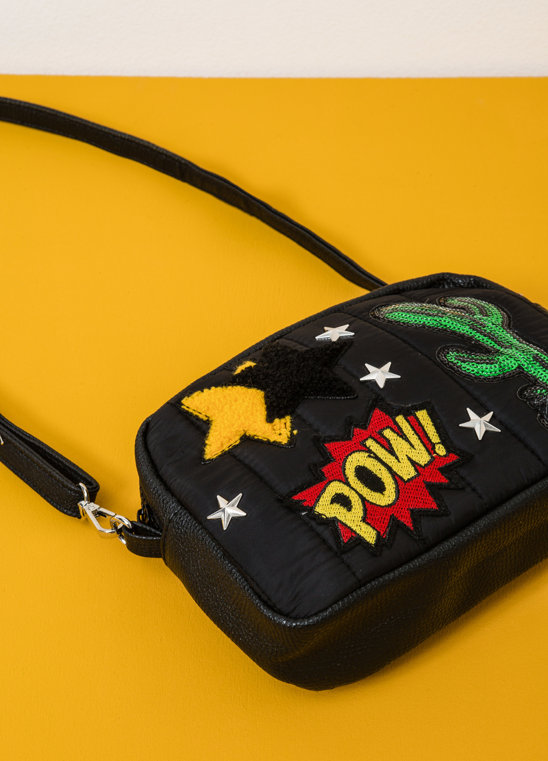 Shoulder bag with studs and patch image number null