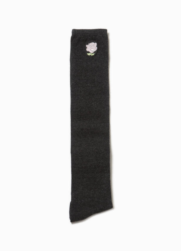 Stretch over-the-knee stockings with flower patch