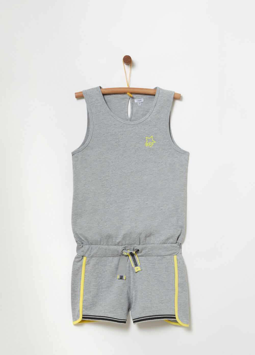 Sleeveless onesie with striped ribbing