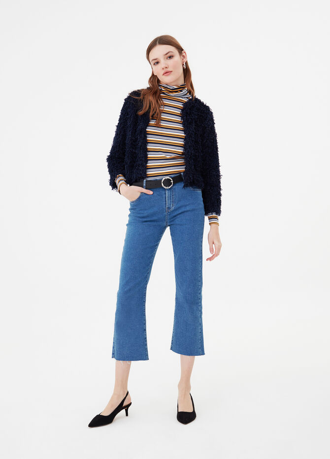 Fur-effect cardigan jacket