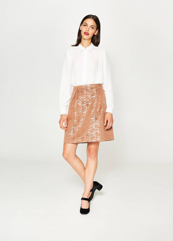 High-waisted shiny floral skirt | OVS