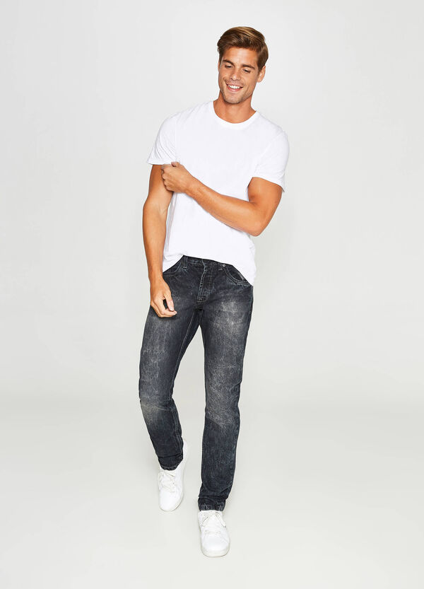 Misdyed-effect slim-fit jeans with discolouring | OVS