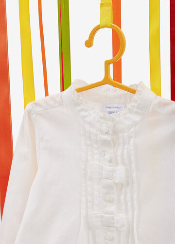Shirt with pleating and bows