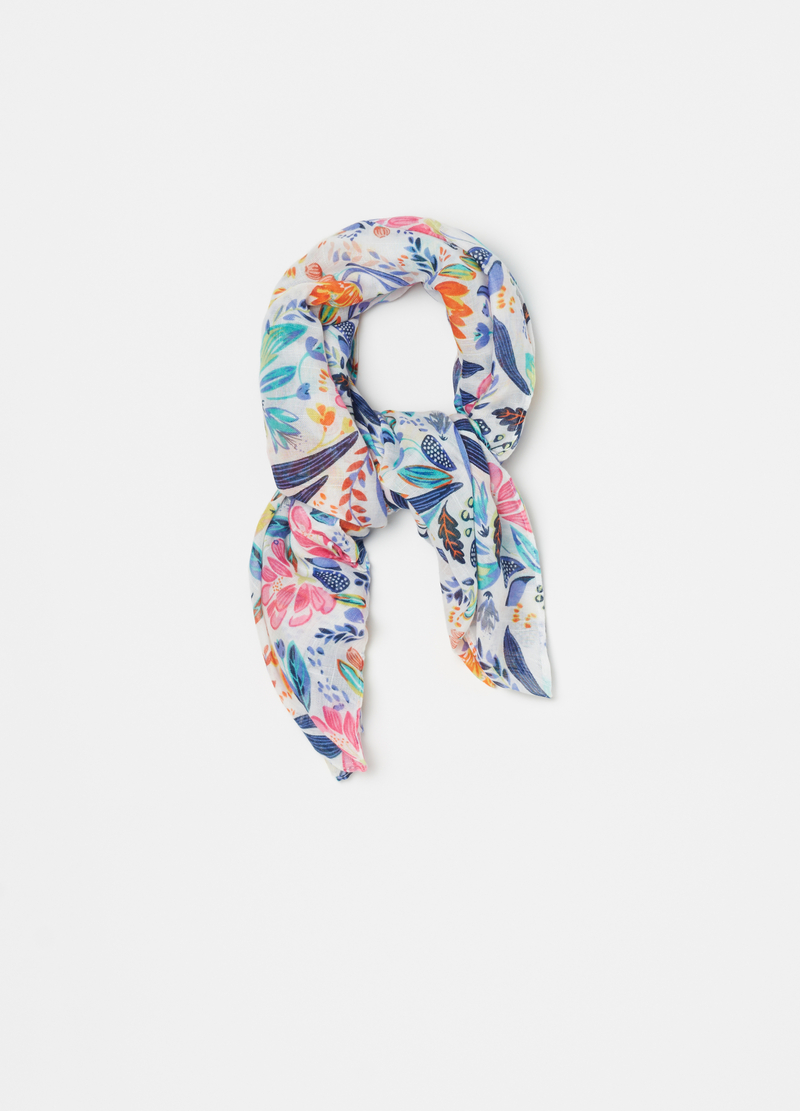 Multicoloured scarf with floral print image number null