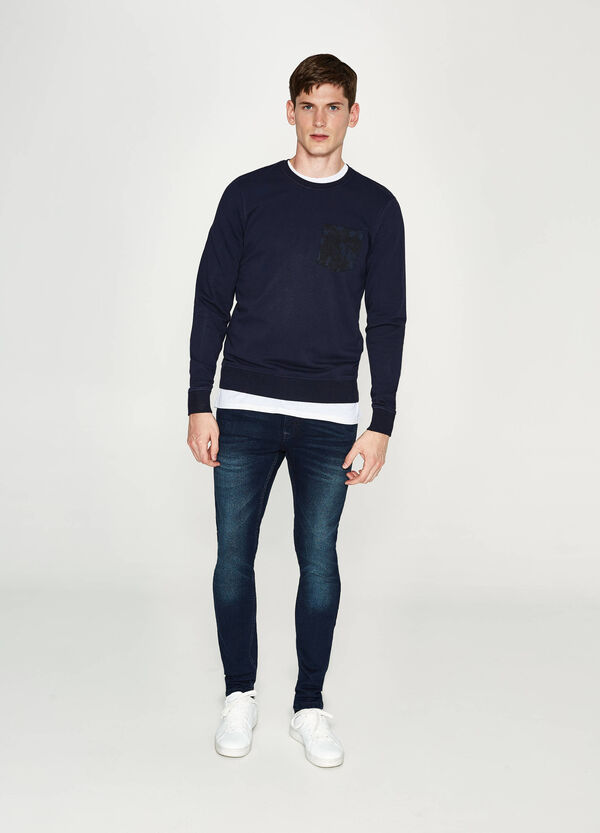 Cotton pullover with pocket
