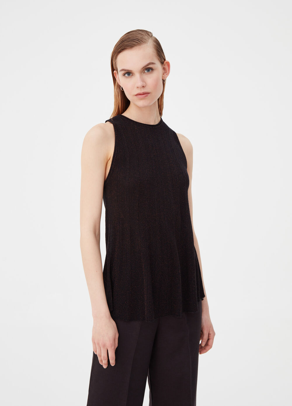 Tank top with striped weave and lurex