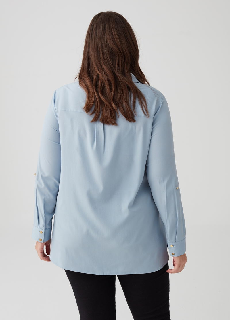 Curvy shirt with flap pockets image number null