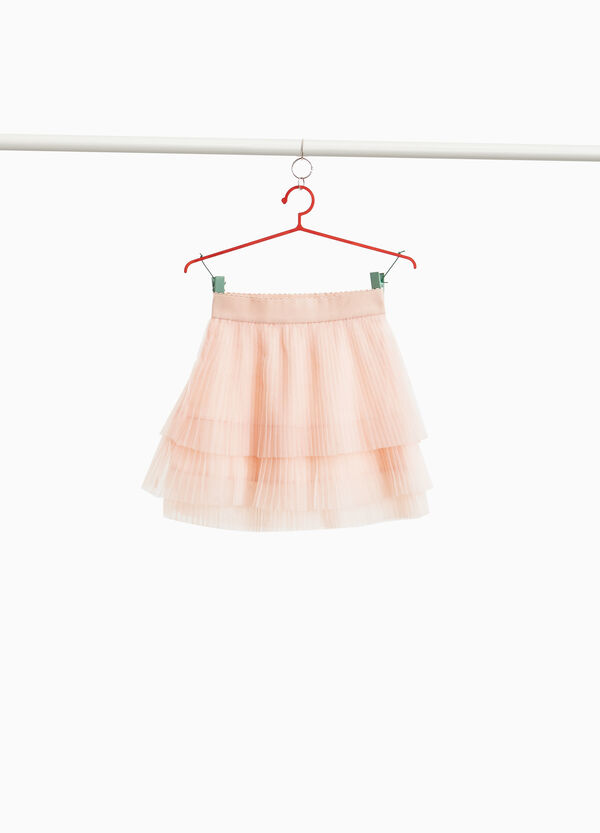Flounced skirt in pleated tulle