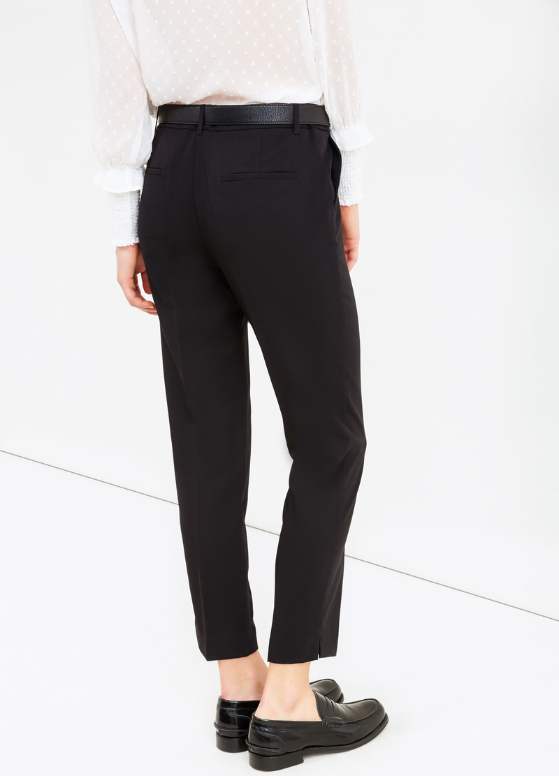 Stretch viscose trousers with crease image number null