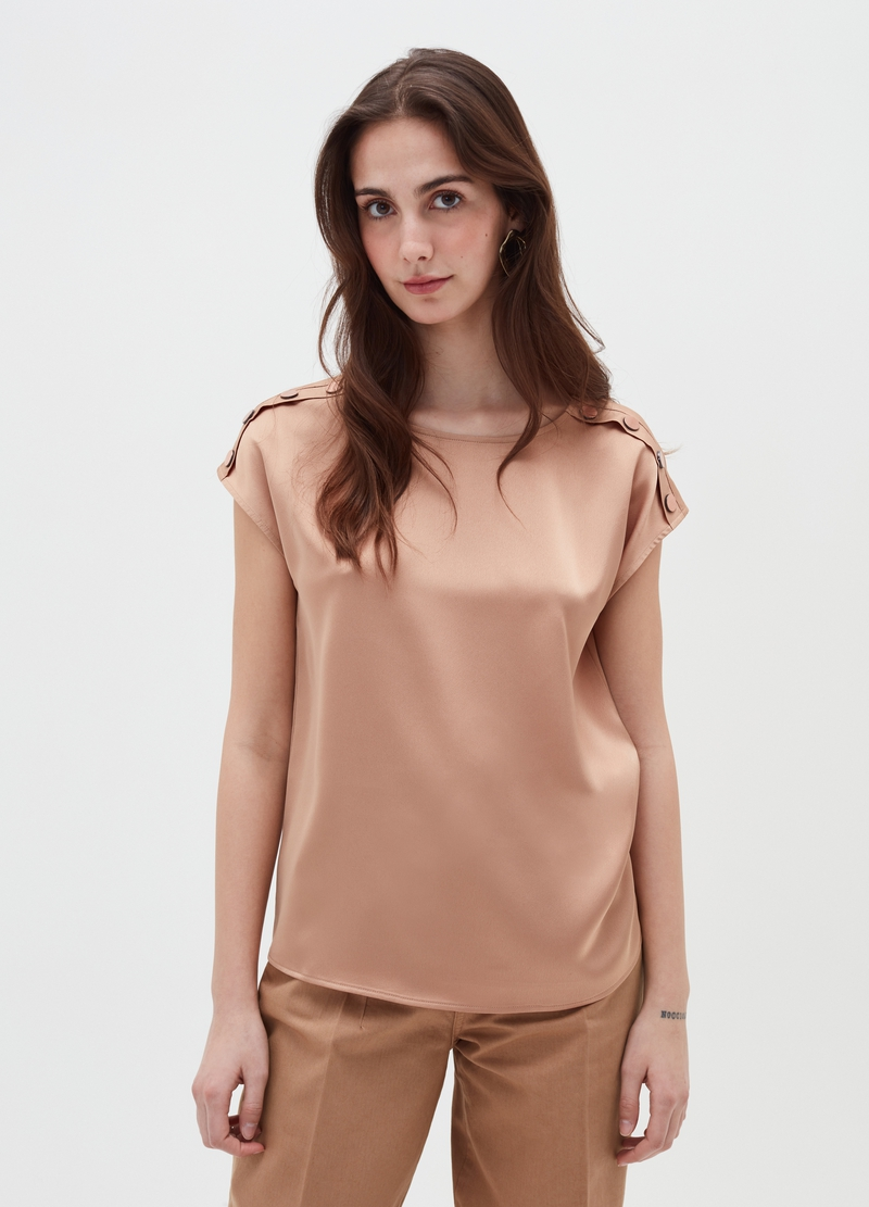 Satin blouse with cap sleeves and studs image number null
