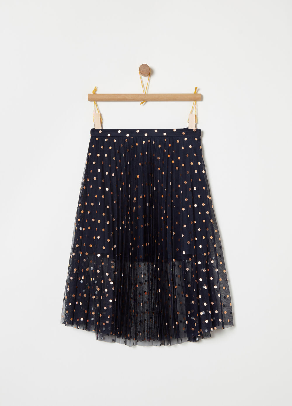 Pleated tulle skirt with lining and foil print