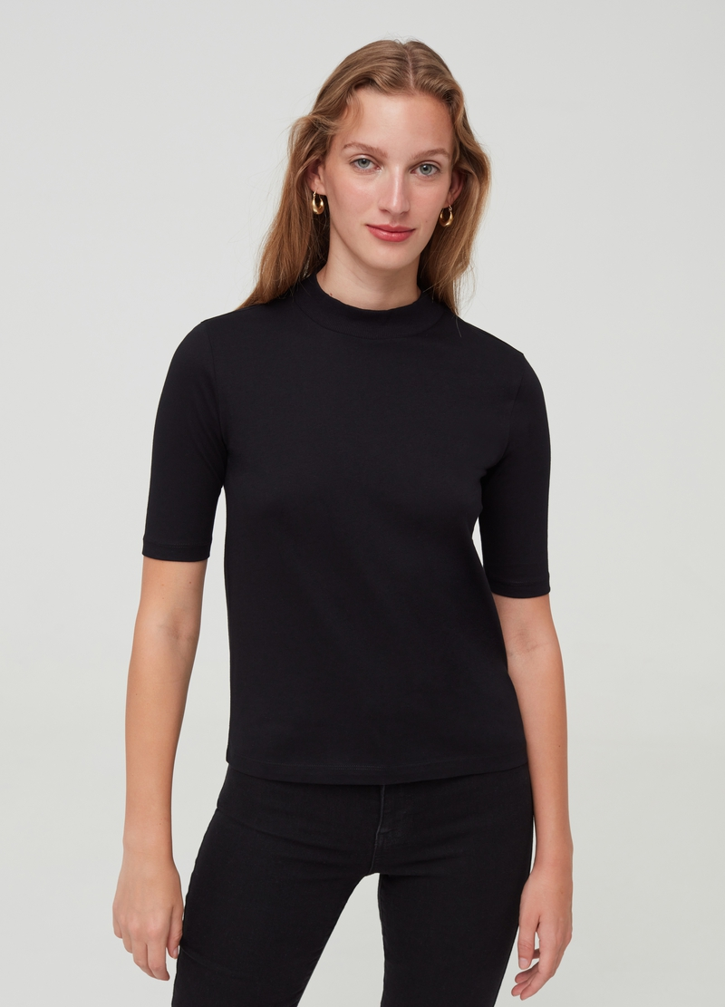Organic cotton T-shirt with elbow-length sleeves image number null