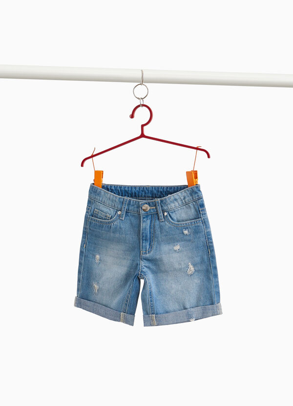 Worn-effect denim Bermuda shorts with rips