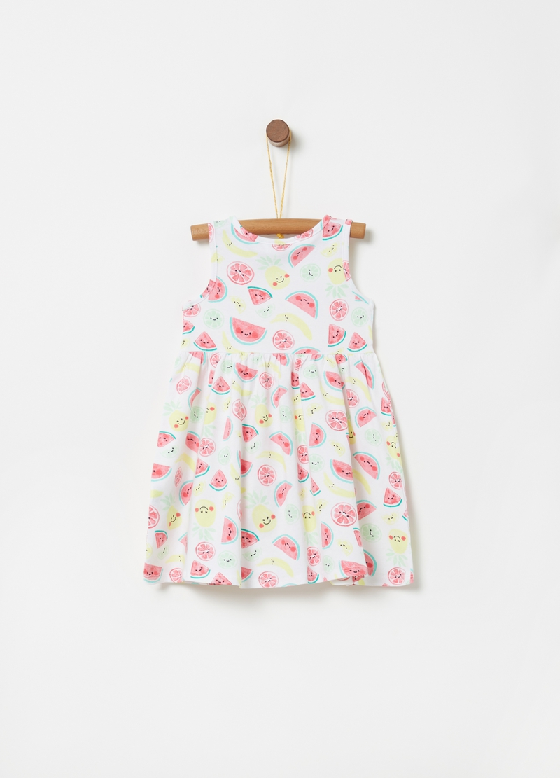 Dress with pleated skirt and fruit print image number null