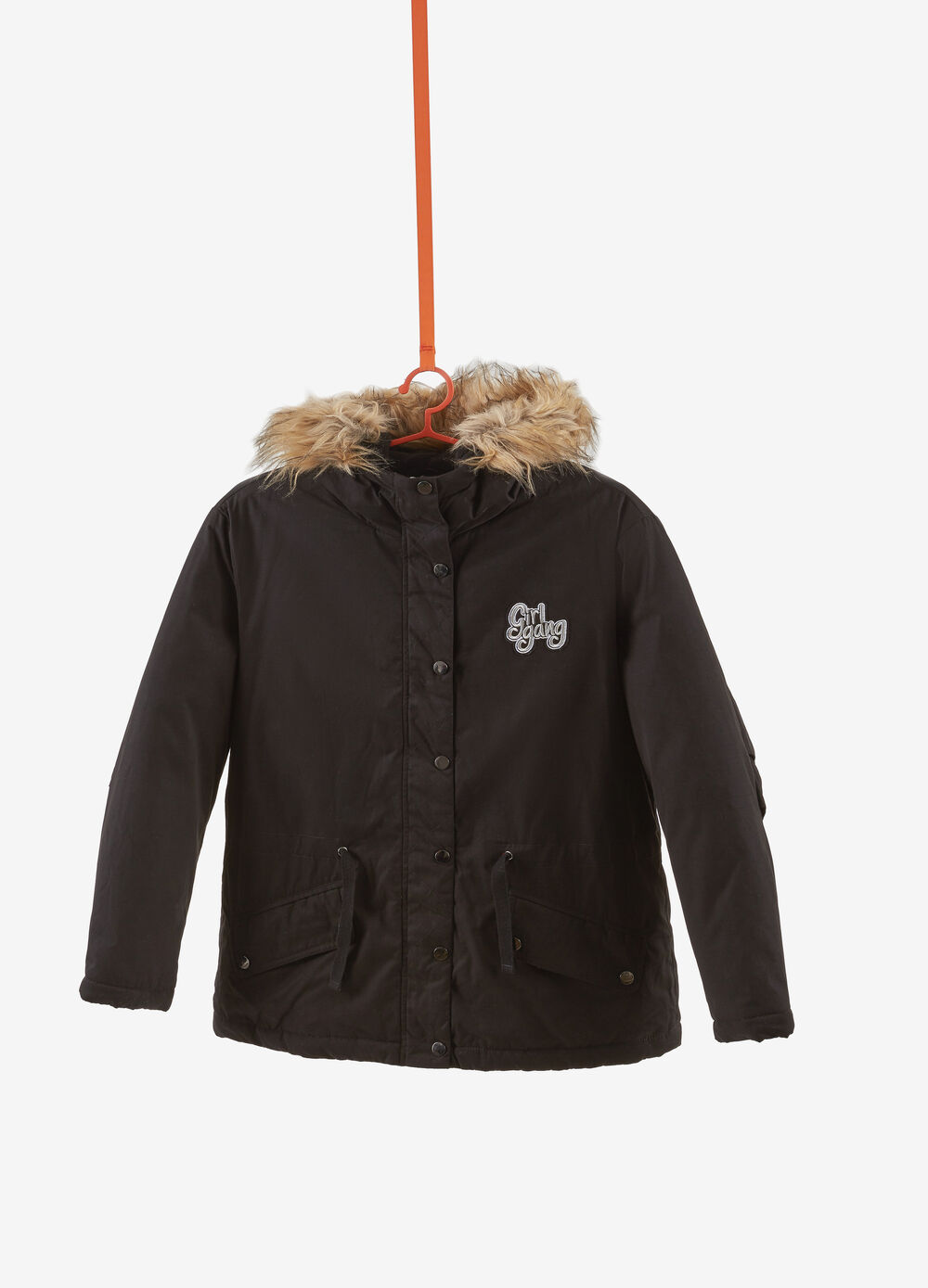 Cotton blend parka with lettering patch