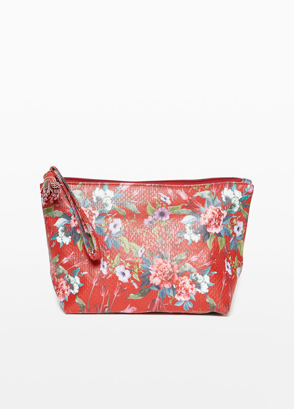 Floral beauty bag with snakeskin texture