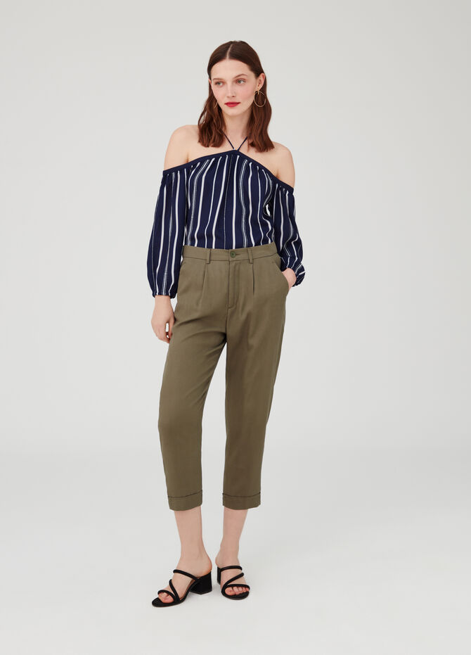 Blouse with drop shoulder and stripes