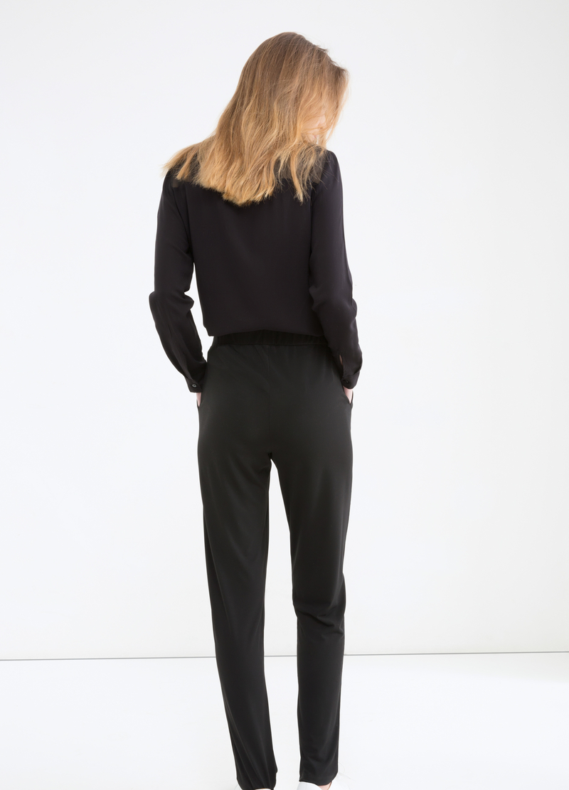 Solid colour stretch trousers image number null