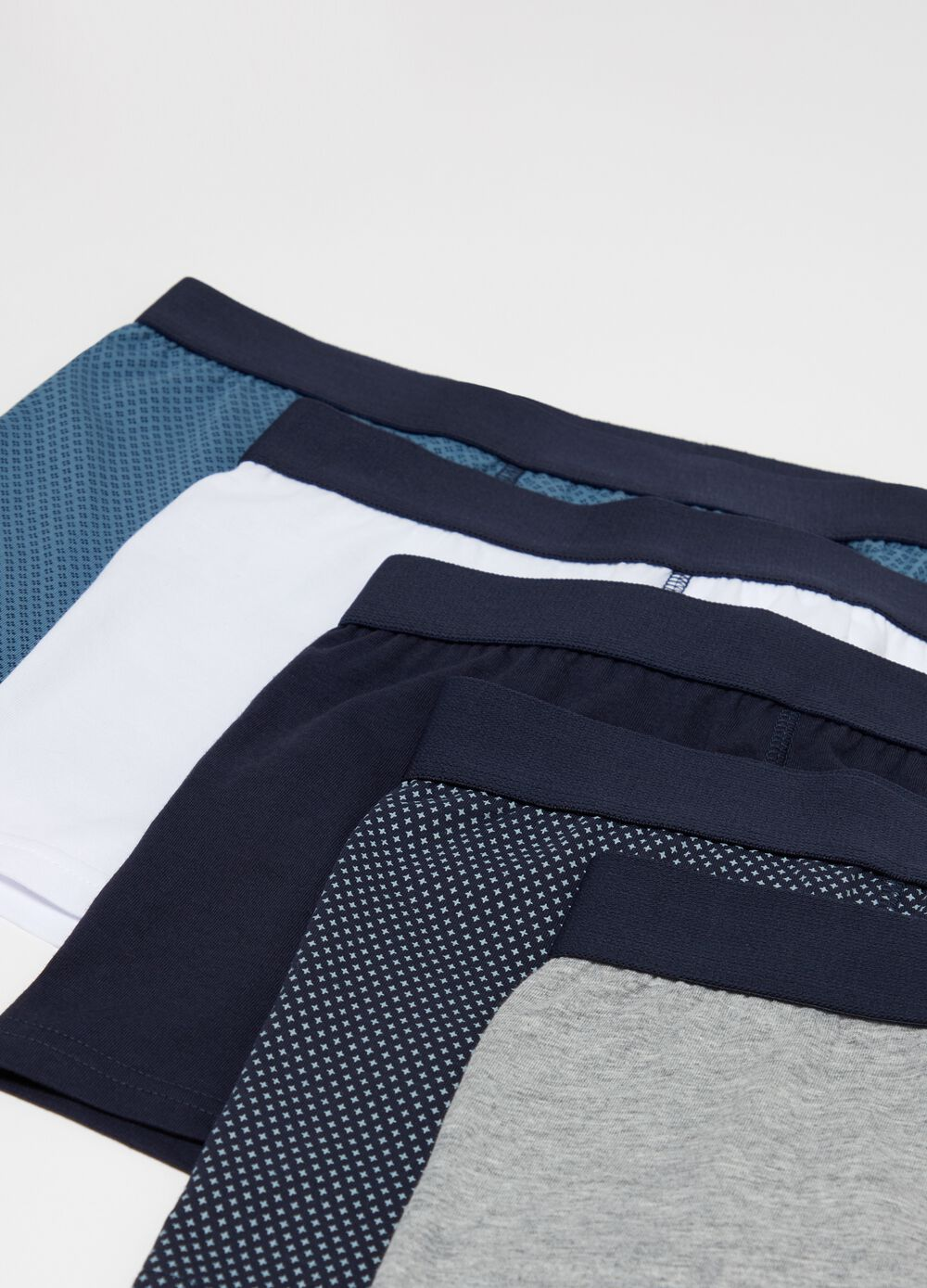 Five-pack boxer shorts in 100% cotton with external elastic
