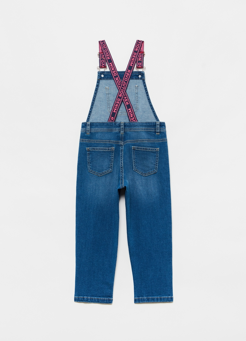 Denim dungarees with contrasting braces image number null